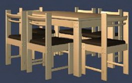 Modern style dining chair and table 3d preview