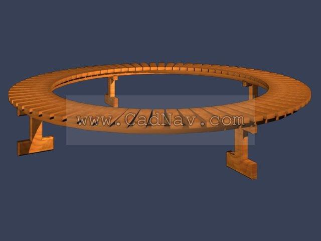 Circular park bench 3d rendering