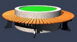 Wood outdoor circular bench 3d model preview