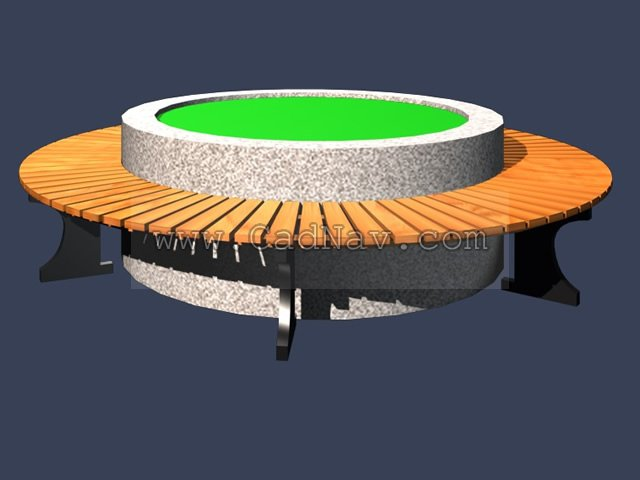 Wood outdoor circular bench 3d rendering