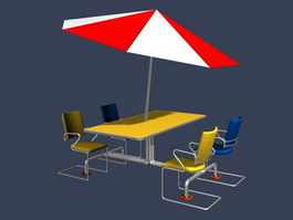 Outdoor dining set and umbrella 3d preview