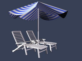 Outdoor beach chair and umbrella 3d model preview