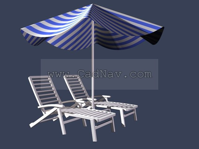 Outdoor Beach Chair And Umbrella 3d Model 3ds Max Files