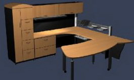 Office Desks and cabinet wall units 3d model preview