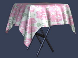 Folding Dining Table and tablecloth 3d preview
