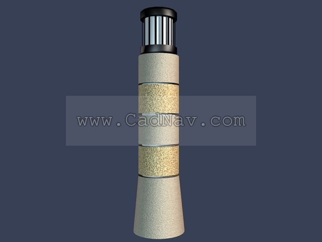 Outdoor lawn lamp 3d rendering
