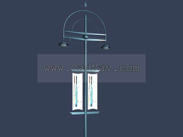 Lamp post street advertising banner 3d rendering