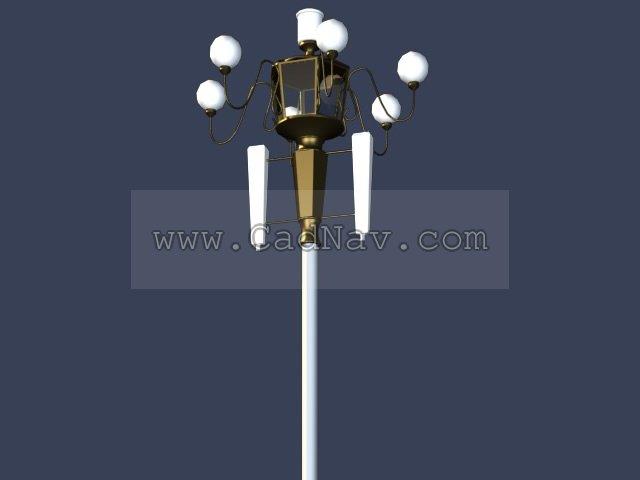 Cast iron street lamp 3d rendering