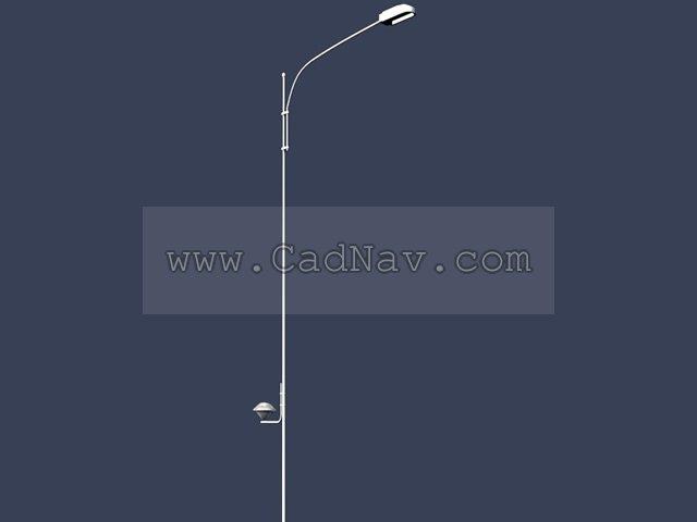 Single arm street lamp post 3d rendering