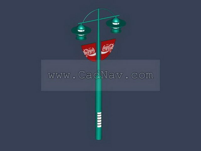 Lamp Pole Street Banner 3d rendering