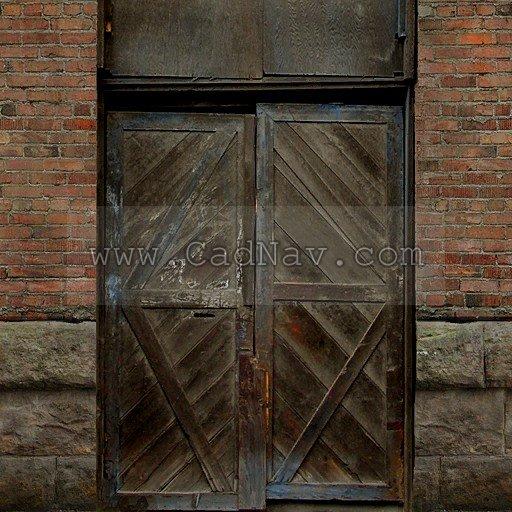 Brick wall wooden door texture