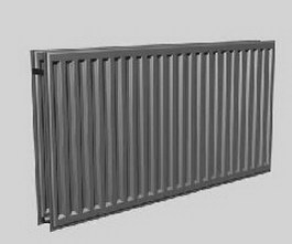 Cast iron central heating radiator 3d model preview