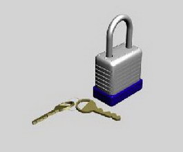 Padlock and key 3d preview