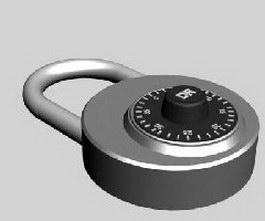 Password padlock 3d model preview
