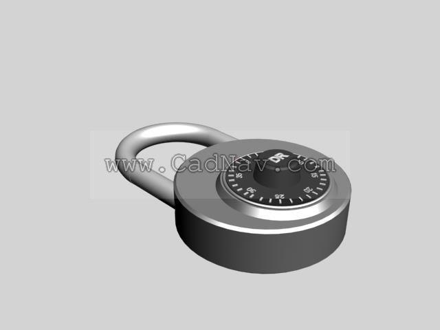 Password padlock 3d rendering