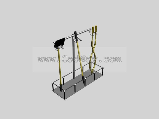 Fireplace Tools 3d rendering