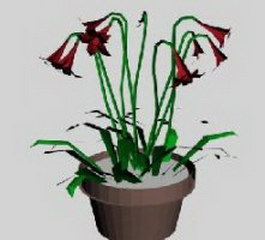 Potted flowers 3d model preview