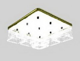 Square ceiling lamp 3d model preview