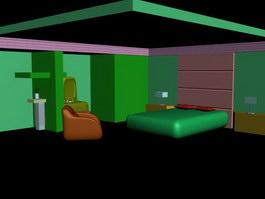 Master bedroom space design 3d model preview