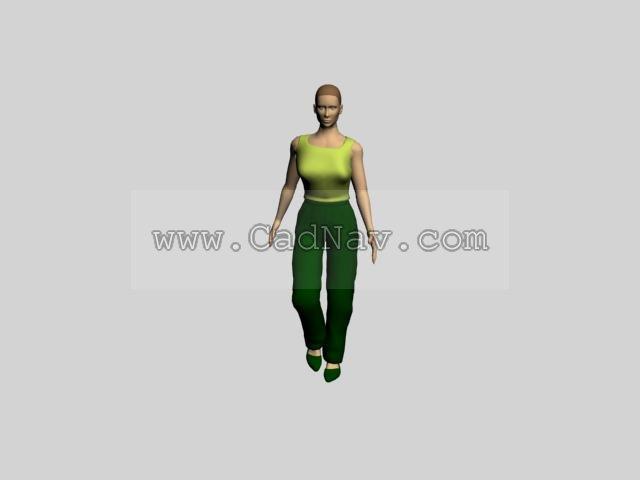Short hair women 3d rendering