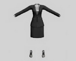 Grey skirt suit for office lady 3d preview