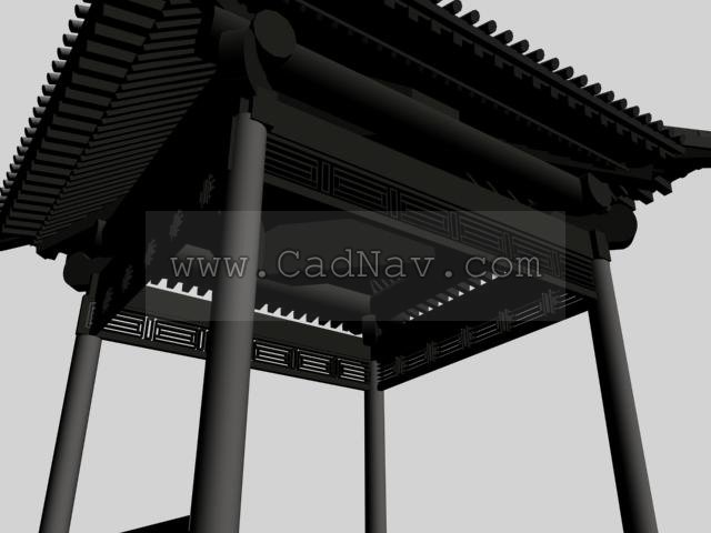 Chinese pavilions 3d rendering