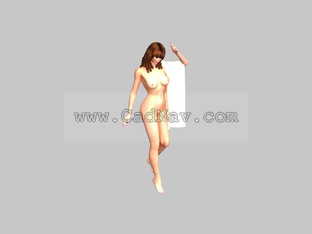Bathing woman 3d rendering