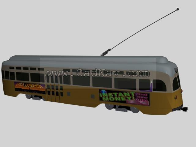 Tramcar streetcars 3d rendering