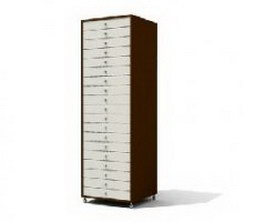Wooden filing cabinet 3d model preview