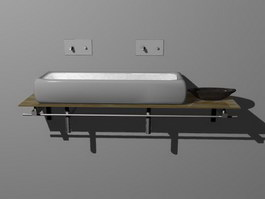 Kitchen sink and table 3d model preview