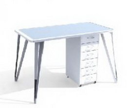 IKEA office desks and filing cabinets 3d model preview