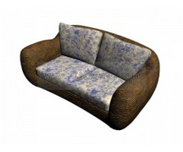Ilinois home Fabric sofa and cushion 3d model preview