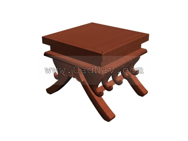 Ilinois home Antique wooden tea table 3d rendering
