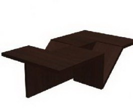 Wooden tea table 3d preview
