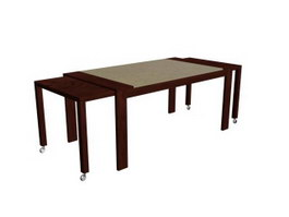 Pull-out Dining table 3d model preview