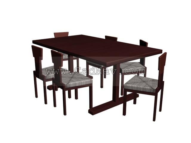 Wooden Dining Tables and Chairs Sets 3d rendering