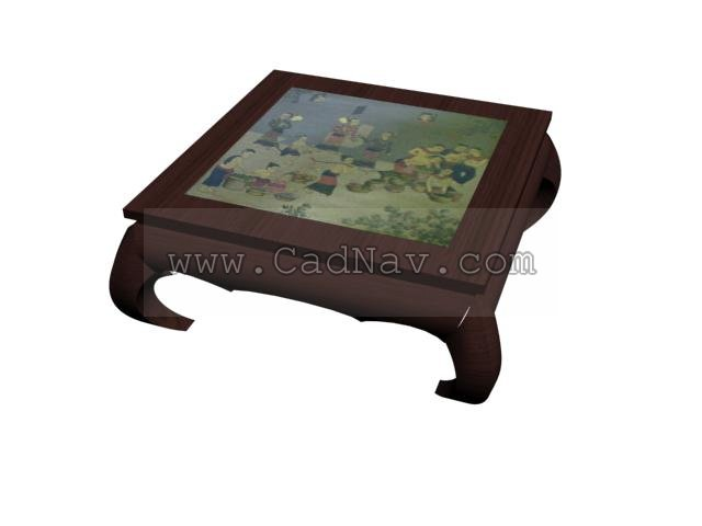 Square Wooden Tea Table 3d rendering