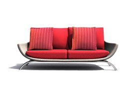 Three-seat Fabric sofa group 3d model preview