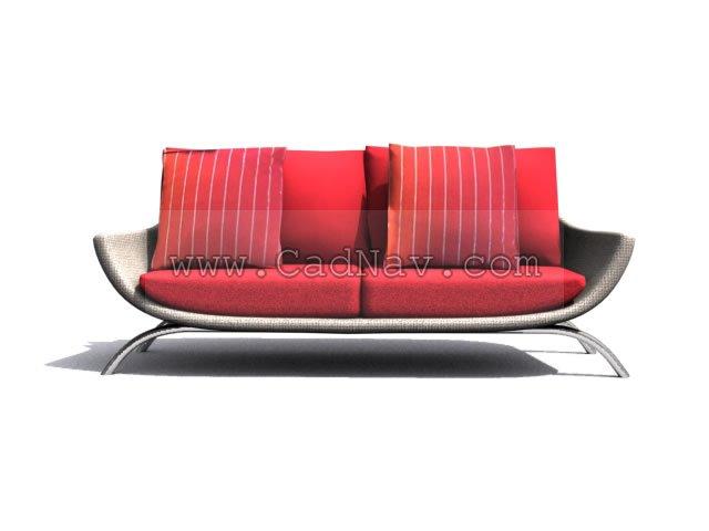 Three-seat Fabric sofa group 3d rendering