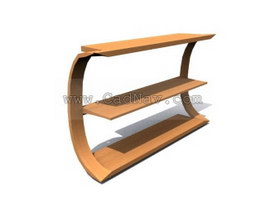 Wooden Store display rack 3d model preview