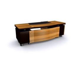 Wooden EXECUTIVE DESK 3d model preview