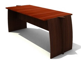 Wooden Office table 3d model preview