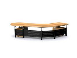 Office table unit 3d model preview