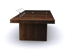 Wood conference table 3d model preview