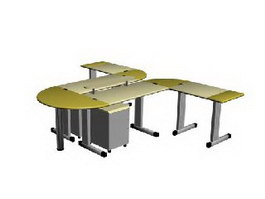 Office Bench working table 3d model preview