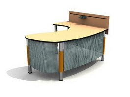 Curved office desk 3d model preview