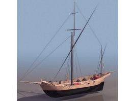Corsair pirate ship 3d model preview