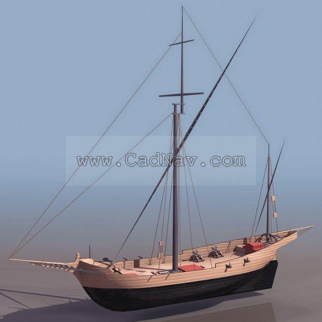 Corsair pirate ship 3d rendering