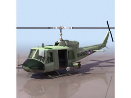 Bell UH-1 Huey utility helicopter 3d model preview