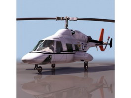 Bell 222 light twin-engine helicopter 3d model preview